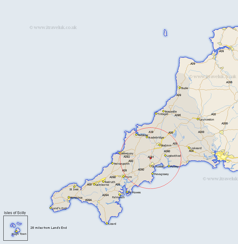 Bugle Cornwall Map