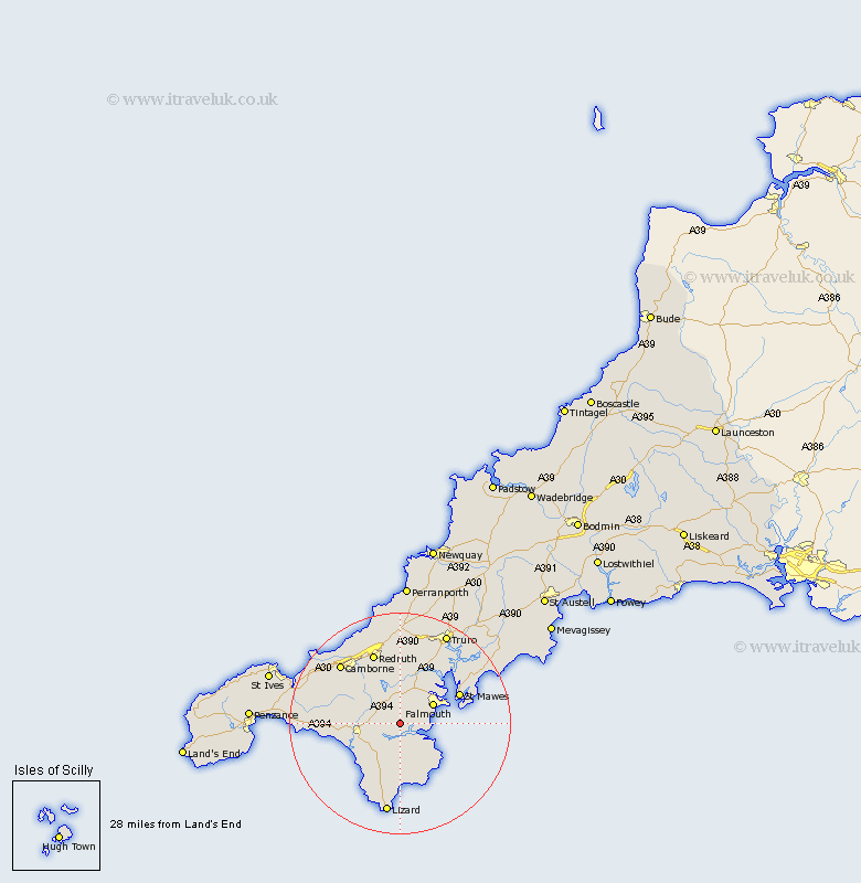 Constantine Cornwall Map