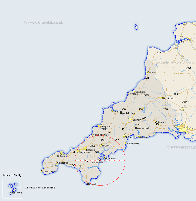 Flushing Cornwall Map