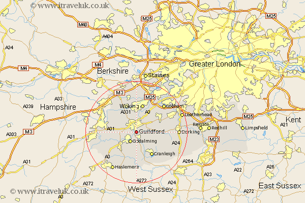 Guilford England Map.Guildford Map Street And Road Maps Of Surrey England Uk