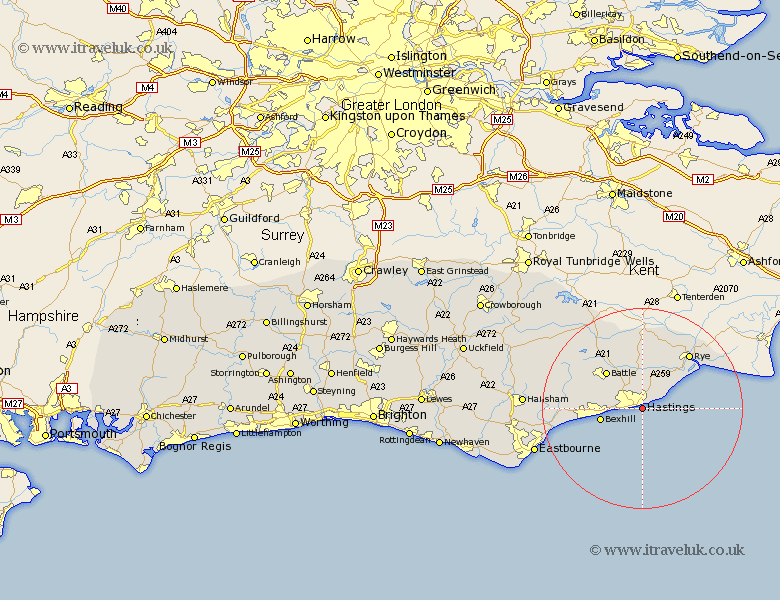 Map Of England Hastings.Hastings Map Street And Road Maps Of Sussex England Uk
