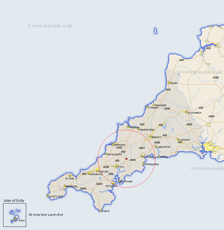 Ladock Cornwall Map