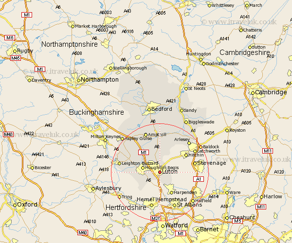 luton bedfordshire map