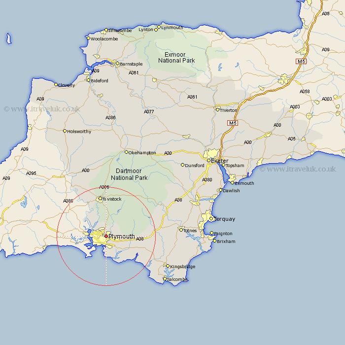 plymouth devon map