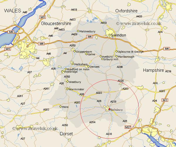 Salisbury Map Street And Road Maps Of Wiltshire England Uk