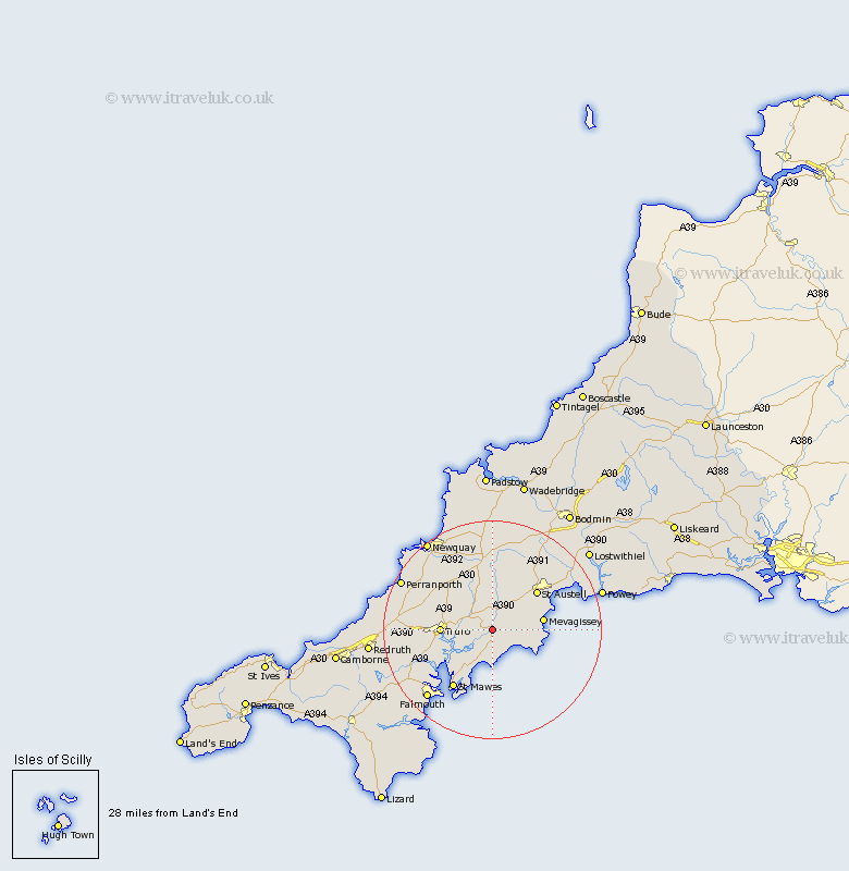 Tregoney Cornwall Map