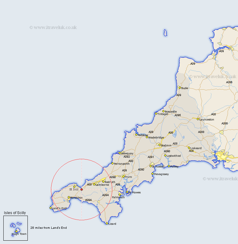 Uny Lelant Cornwall Map