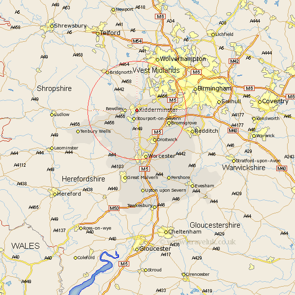 Kidderminster Map  Street and Road Maps of Worcestershire England UK