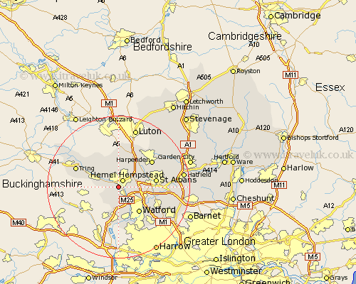 Hertfordshire map showing location of hemel hempsted and boxmoor