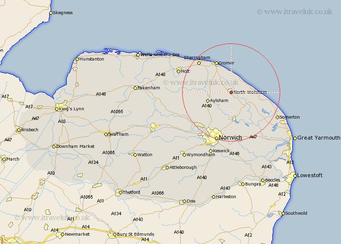 North Walsham Map Street and Road Maps of Norfolk England UK – Map Uk North