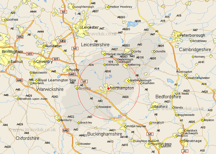 Northamptonshire Map Showing Location of Northampton