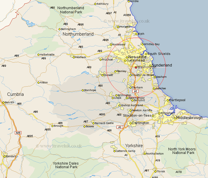 washington map street and road maps of durham england uk