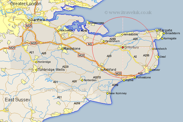 Kent Map Showing Location of Canterbury