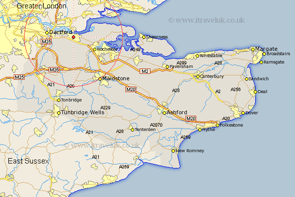 Gravesend Map - Street and Road Maps of Kent England UK