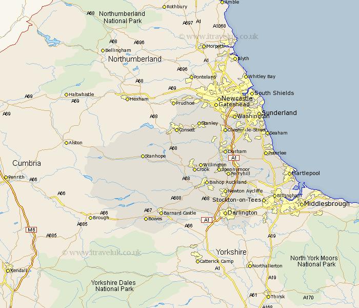 Durham Map - England County Maps: UK on