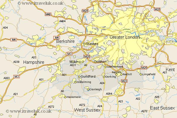 surrey uk map