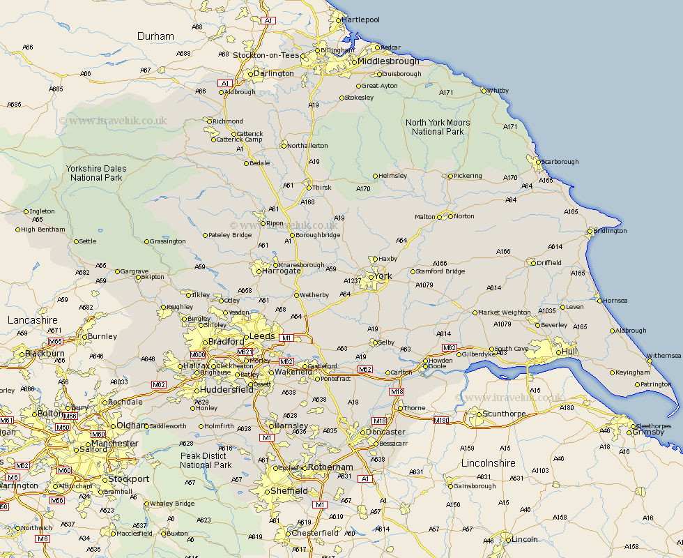 England Map. Yorkshire towns in our database