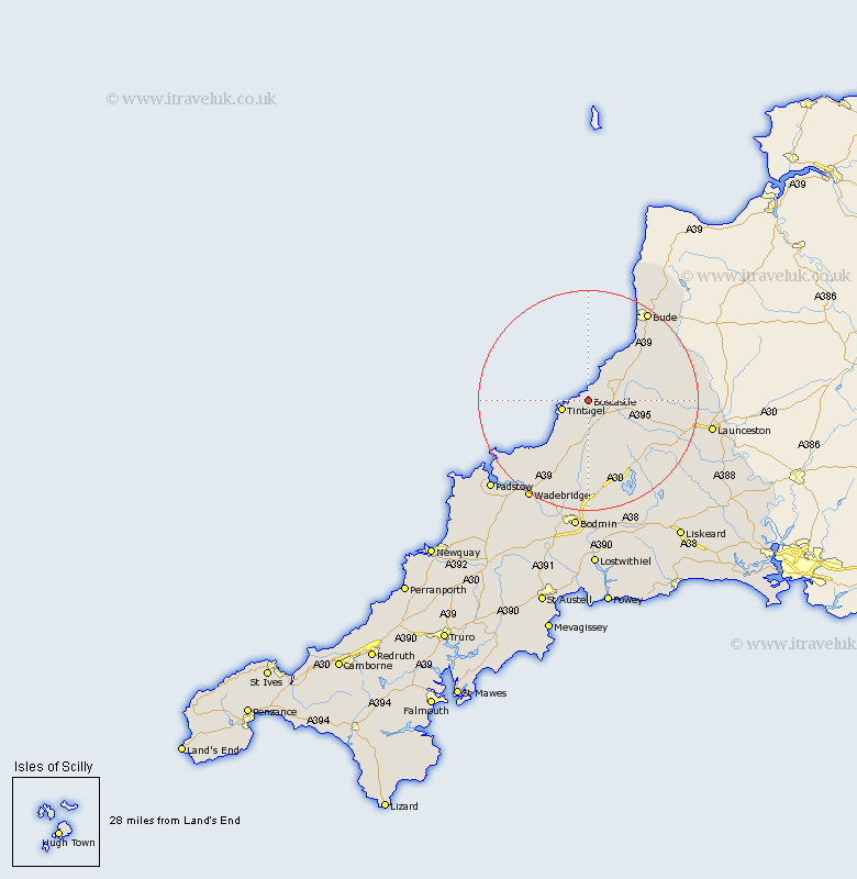 Map Of Boscastle Boscastle Map   Street and Road Maps of Cornwall England UK