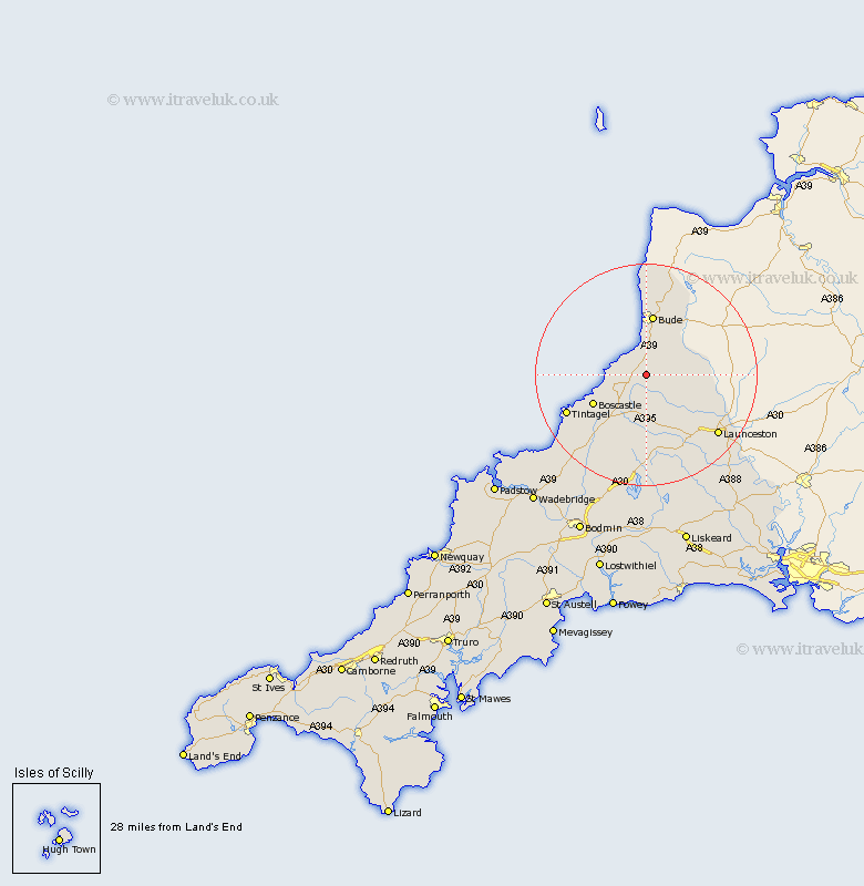 Jacobstow Cornwall Map